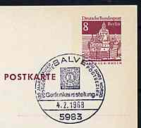 Postmark - West Berlin 1968 8pfg postal stationery card with special Balve cancellation for Anniversary Stamp Exhibition illustrated with North German Confederation stamp of 1868