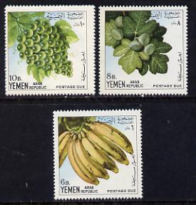 Yemen - Republic 1967 Fruits 'Postage due' set of 3 vals unmounted mint SG D468-70 (Mi 28-30)