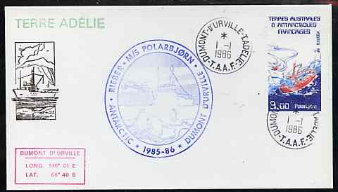 French Southern & Antarctic Territories 1986 Supply Ship 'Polarbj\9Arn'  on illustrated cover with first day cancel, with cachet showing Helicopter & Penguins, SG 213