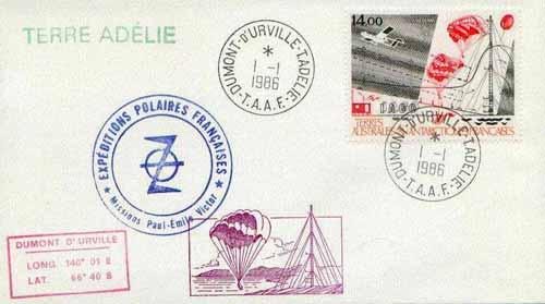 French Southern & Antarctic Territories 1986 Scientific Research (Plane, Parachutes & Aerial) on illustrated cover with first day cancel, SG 218