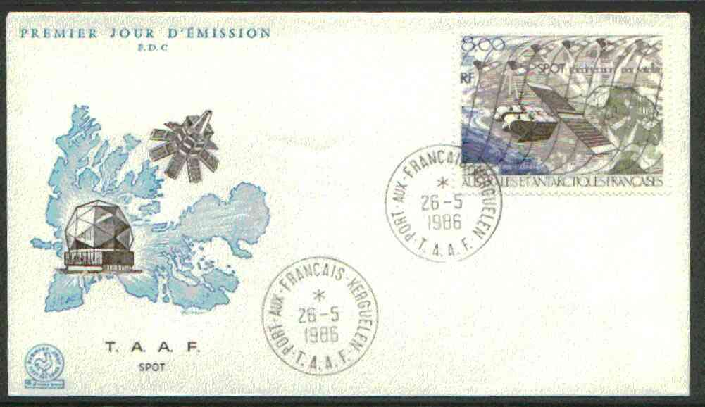 French Southern & Antarctic Territories 1986 SPOT Surveillance Satellite on illustrated cover with first day cancel, SG 219