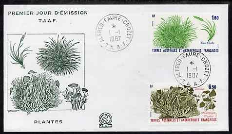 French Southern & Antarctic Territories 1987 Plants set of 2 on illustrated cover with first day cancel, SG 221-22