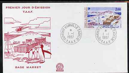 French Southern & Antarctic Territories 1987 Marret Base on illustrated cover with first day cancel showing Helicopter & Penguins, SG 223