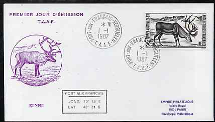 French Southern & Antarctic Territories 1987 Antarctic Wildlife (Reindeer) on illustrated cover with first day cancel, SG 225