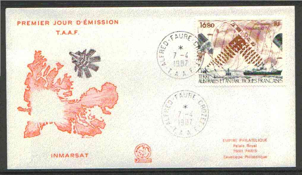 French Southern & Antarctic Territories 1987 Inmarsat Satellite on illustrated cover with first day cancel, SG 230