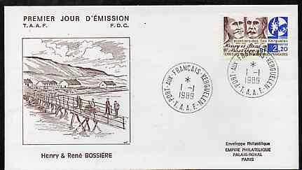 French Southern & Antarctic Territories 1989 Kerguelen Island Pioneers on illustrated cover with first day cancel, SG 249