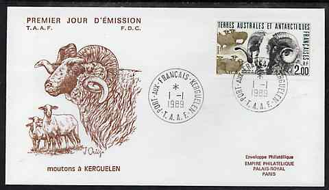French Southern & Antarctic Territories 1989 Flora & Fauna 2f (Sheep) on illustrated cover with first day cancel, SG 245
