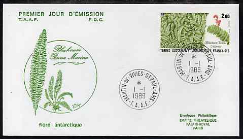 French Southern & Antarctic Territories 1989 Flora & Fauna 2f80 (Blechnum penna marina) on illustrated cover with first day cancel, SG 246
