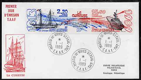 French Southern & Antarctic Territories 1989 Ships set of 2 plus label on illustrated cover with first day cancel, SG 250a