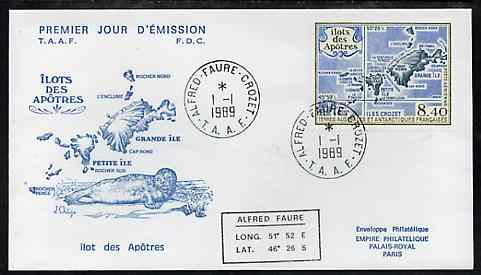 French Southern & Antarctic Territories 1989 Apostle Island 8f40 on illustrated cover with first day cancel, SG 254, stamps on maps, stamps on seals