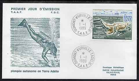 French Southern & Antarctic Territories 1989 Diving in Adelie Land on illustrated cover with first day cancel, SG 248