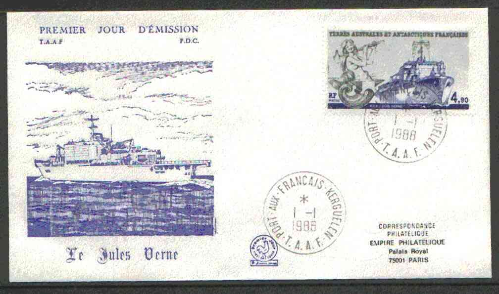 French Southern & Antarctic Territories 1988 Jules Verne (Survey Ship) on illustrated cover with first day cancel, SG 238
