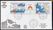 French Southern & Antarctic Territories 1988 Antarctic Geology strip of 2 plus label on illustrated cover with first day cancel, SG 234a
