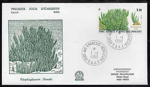 French Southern & Antarctic Territories 1988 Elephant Grass on illustrated cover with first day cancel, SG 232