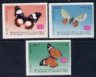 Yemen - Royalist 1968 Butterflies set of 3 unmounted mint (Mi 448-50)