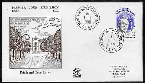 French Southern & Antarctic Territories 1988 Father Lejay on illustrated cover with first day cancel, SG 233
