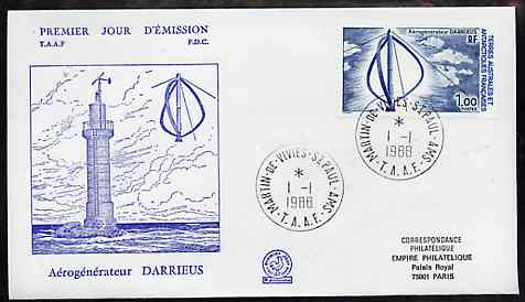 French Southern & Antarctic Territories 1988 Wind Generator on illustrated cover with first day cancel, SG 231