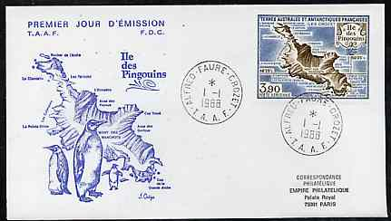 French Southern & Antarctic Territories 1988 Penguin Island 3f90 on illustrated cover with first day cancel, SG 240