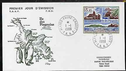 French Southern & Antarctic Territories 1988 Penguin Island 15f10 on illustrated cover with first day cancel, SG 241