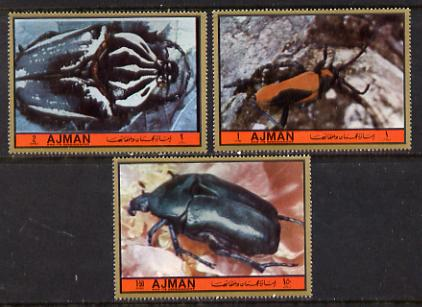 Ajman 1972 Beetles set of 3 from Birds & Beetles set unmounted mint (Mi 2172-77A)