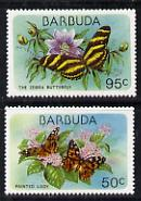 Barbuda 1978 Flora & Fauna 50c & 95c (the two vals depicting Butterflies) unmounted mint SG 438 & 440