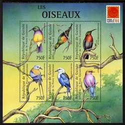 Guinea - Conakry 2001 Birds #1 perf sheetlet containing 6 values with Phila Nippon 01 logo unmounted mint. Note this item is privately produced and is offered purely on its thematic appeal