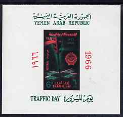Yemen - Republic 1966 Traffic Day imperf m/sheet unmounted mint, SG MS 416, Mi BL 51, stamps on traffic    roads