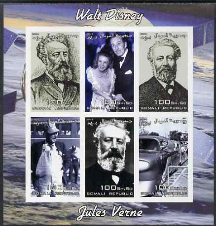 Somalia 2004 Walt Disney & Jules Verne imperf sheetlet containing 6 values unmounted mint. Note this item is privately produced and is offered purely on its thematic appeal