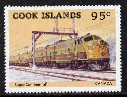 Cook Islands 1985 Famous Trains 95c Canadian Super Continental unmounted mint (SG 1026)