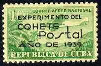 Cuba 1939 Experimental Rocket Flight opt on 10c green