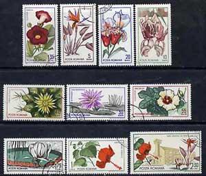 Rumania 1965 Botanical Gardens (Flowers) set of 10 cto used, SG 3314-23, Mi 2442-51