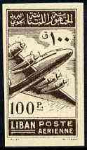 Lebanon 1953 Douglas DC-4 100p imperf proof single in brown printed both sides, as SG 480 unmounted mint