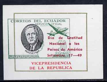 Ecuador 1949 Roosevelt imperf proof single insc Vicepresidencia de la Republic with main design (map & aeroplane) shifted 7mm to left unmounted mint