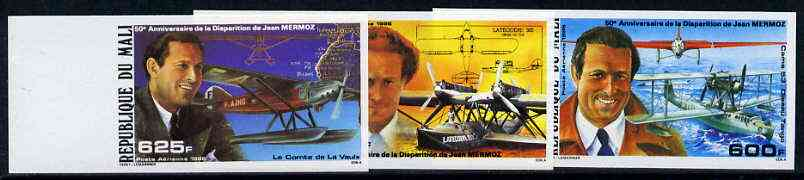 Mali 1986 Jean Mermoz (Aviator) unmounted mint imperf set of 3 from limited printing (as SG 1109-11)