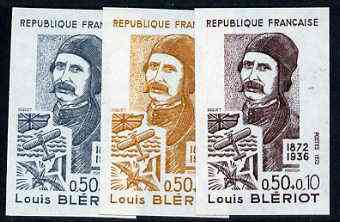 France 1972 Red Cross Fund - Louis Bleriot unmounted mint IMPERF colour trial proof (several colour combinations available but price is for ONE) as SG 1953