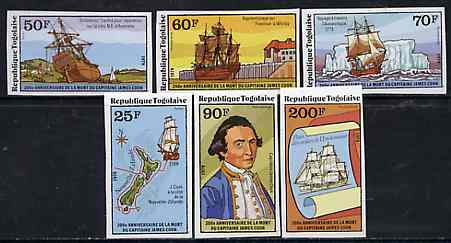 Togo 1979 Captain Cook set of 6 complete imperf from limited printing unmounted mint, as SG 1335-40