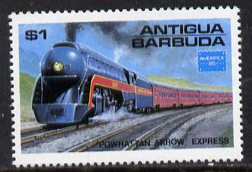 Antigua 1986 Ameripex Stamp Exhibition $1 Arrow Express unmounted mint (SG 1016), stamps on postal, stamps on railways, stamps on stamp exhibitions