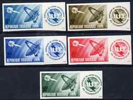 Togo 1965 ITU Centenary set of 5 imperf from limited printing unmounted mint, as SG 408-12