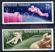 Togo 1965 Astronauts in Space set of 2 imperf from limited printing unmounted mint, as SG 438-39