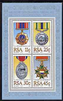 South Africa 1984 Military Medals m/sheet containing set of 4 unmounted mint, SG MS 576
