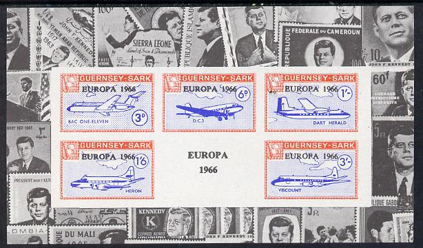 Guernsey - Sark 1966 Europa overprint on Aircraft imperf deluxe m/sheet surrounded by montage of Kennedy stamps, unmounted mint Rosen CS 103LS