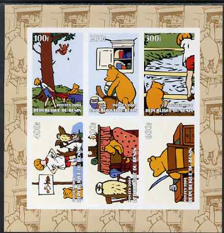 Benin 2004 Winnie the Pooh imperf sheetlet containing set of 6 values unmounted mint