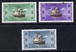 Ras Al Khaima 1965 Ships set of 3 with Olympic Games overprint unmounted mint (Mi 21-23)