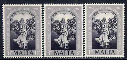 Malta 1954 the Immaculate Conception perf set of 3 in black specially produced for the Penrose book, marked on reverse 'Reproduction only, No Postal or Philatelic value' unmounted mint