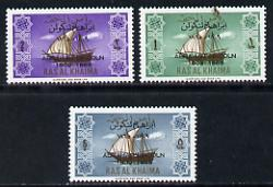 Ras Al Khaima 1965 Ships set of 3 with Abraham Lincoln overprint unmounted mint (Mi 24-26)