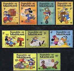 Maldive Islands 1979 Int Year of the Child (Walt Disney characters & letter writing) unmounted mint set of 9, SG 838-46*