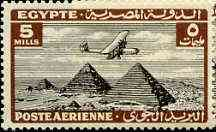Egypt 1933 Air Handley Page HP42 Over Pyramids 5m black & chocolate unmounted mint, SG 198*