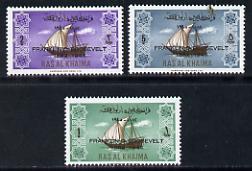 Ras Al Khaima 1965 Ships set of 3 with Franklin D Roosevelt overprint unmounted mint (Mi 27-29)