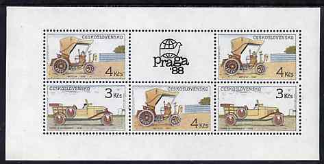 Czechoslovakia 1988  Historic Motor Cars m/sheet containing 2 x 3kc & 3 x 4kc with Praga 88 label unmounted mint, Mi BL 78