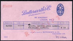 Cinderella - Receipt from Butterworth & Co (Publishers) imprinted with 2d blue oval stamp
